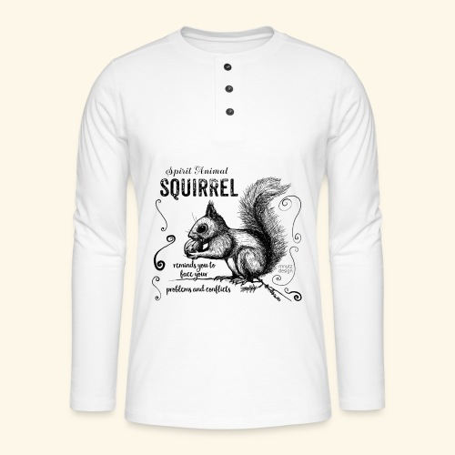 Spirit Animal Eichhörnchen schwarz - Henley Langarmshirt