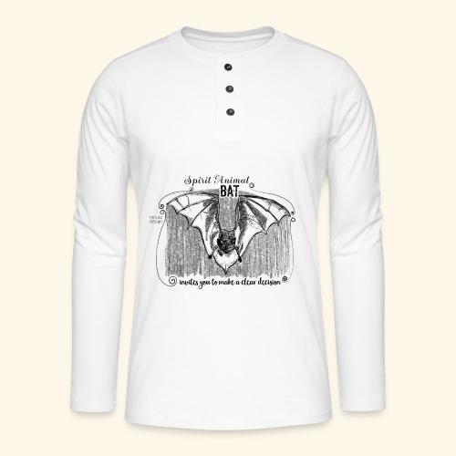 Spirit Animal Fledermaus schwarz - Henley Langarmshirt