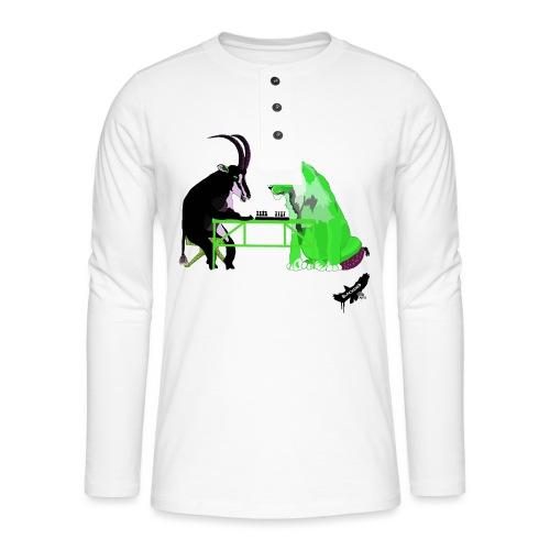 Playing Senet by BlackenedMoonArts, green w. logo - Henley T-shirt med lange ærmer