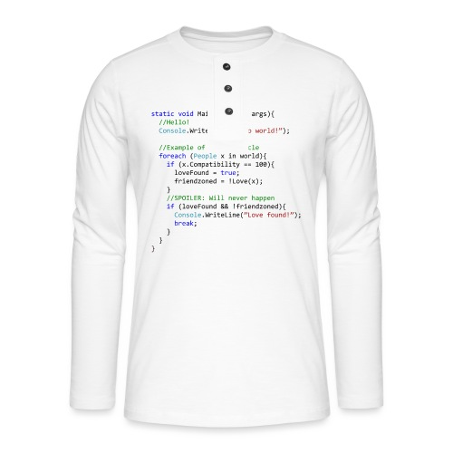 Love seen by a C# programmer - Maglia a manica lunga Henley