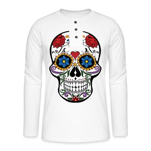 skull catrina - Camiseta panadera de manga larga Henley