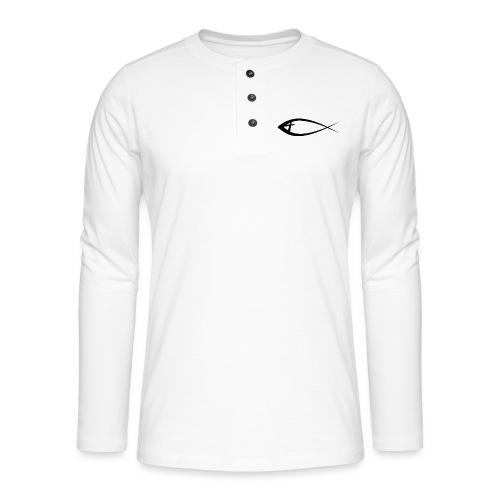Jesus fisk - Henley T-shirt med lange ærmer