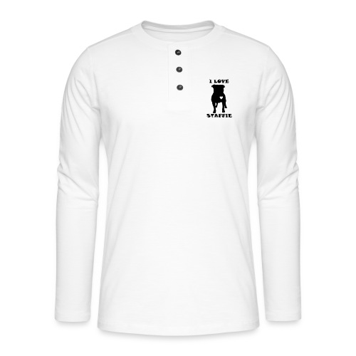 i love staffie - T-shirt manches longues Henley