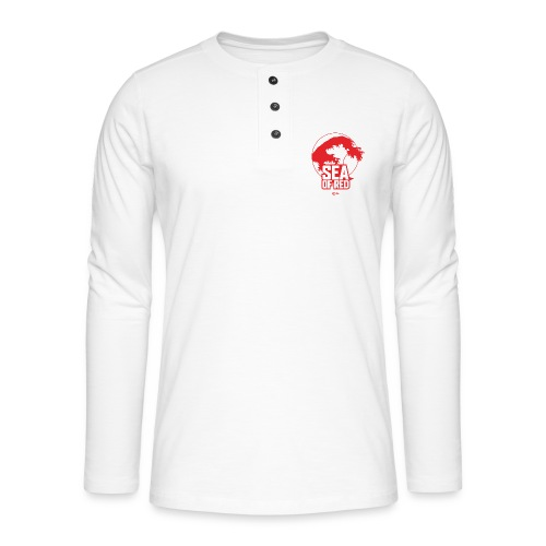 Sea of red logo - small red - Henley long-sleeved shirt