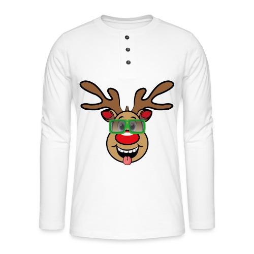 Weihnachten Rudi mit Brille - Henley Langarmshirt