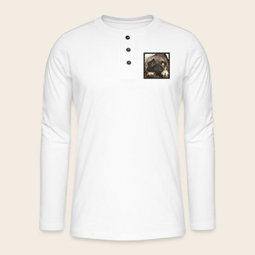 Mops Hund 1 - Henley Langarmshirt