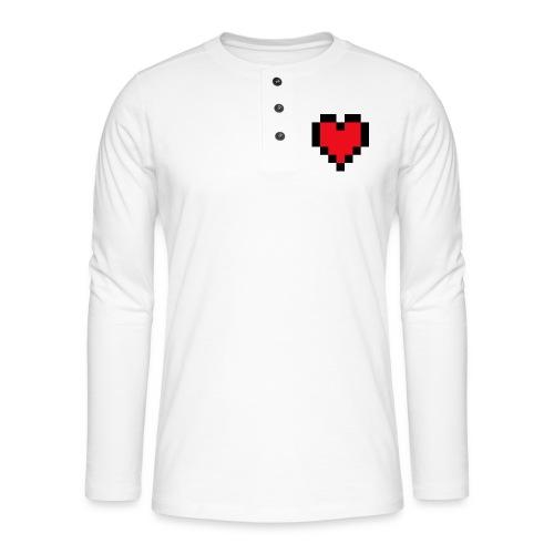 Pixel Heart - Henley shirt met lange mouwen