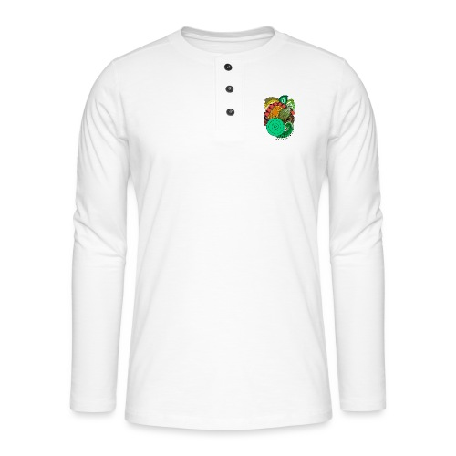 Coloured Leaf Mandala - Henley long-sleeved shirt