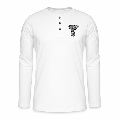 Ażurowy słoń - Koszulka henley z długim rękawem