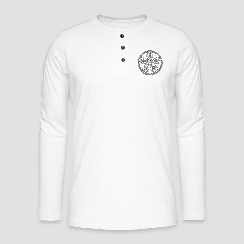 Treble Clef Mandala (white/black outline) - Henley long-sleeved shirt