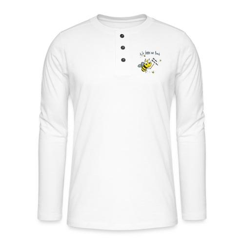 Save the bees with this cute design! Red de bij - Henley shirt met lange mouwen