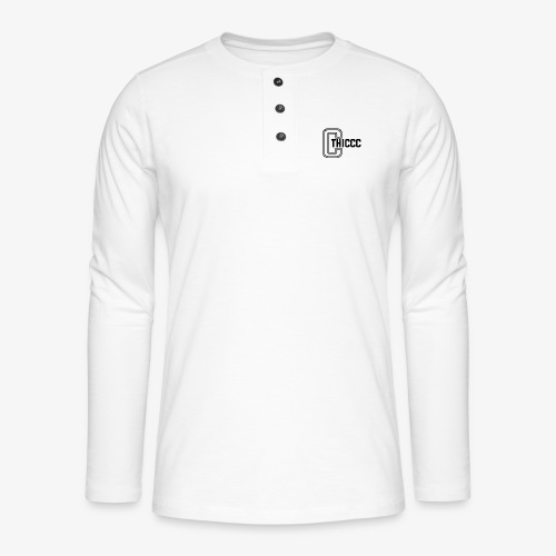 thiccc logo WHITE and BLACK - Henley long-sleeved shirt
