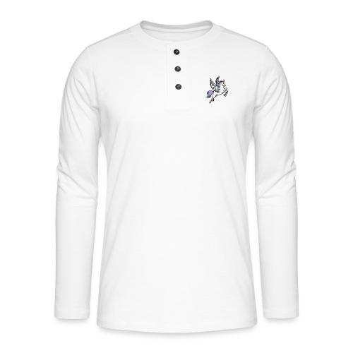 Fliegendes Einhorn - Henley Langarmshirt