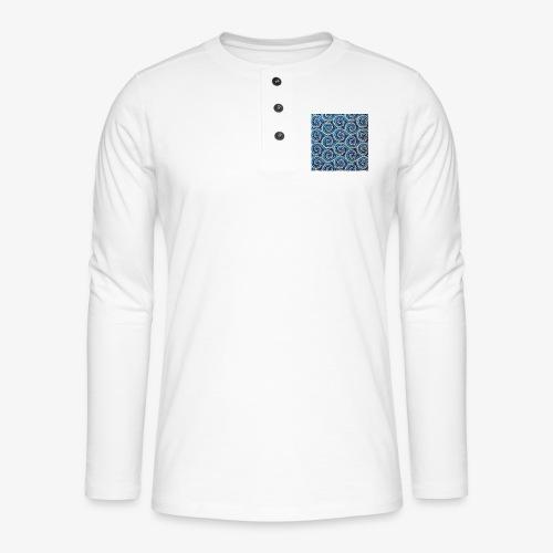 Spirales au motif bleu - T-shirt manches longues Henley
