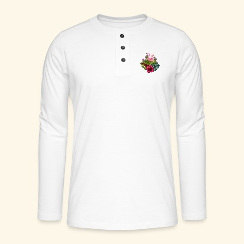 flamant rose fleurs tropicales - Henley long-sleeved shirt