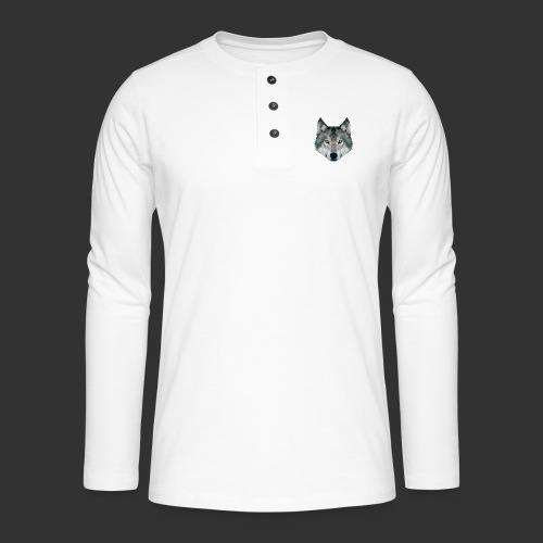 Loup LowPoly - T-shirt manches longues Henley
