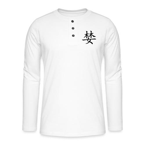 chineze tekens - Henley shirt met lange mouwen