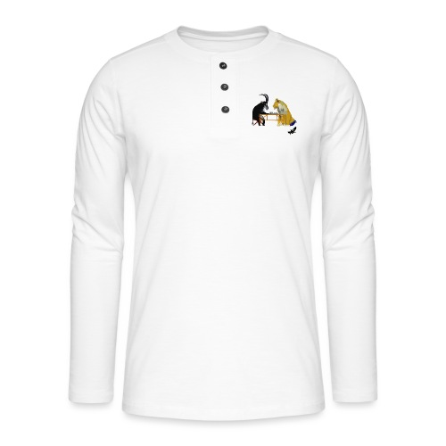 Playing Senet by BlackenedMoonArts, colour w. logo - Henley T-shirt med lange ærmer