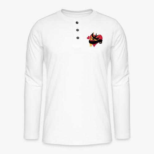 retro tattoo bird with heart - Henley long-sleeved shirt