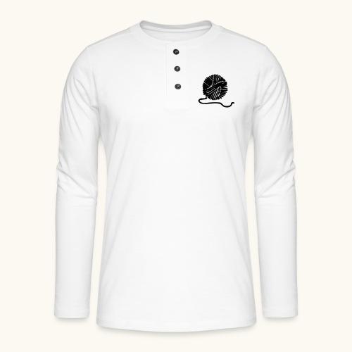 Farbe anpassbar Wollknäuel Vektor Lustig Geschenk - T-shirt manches longues Henley