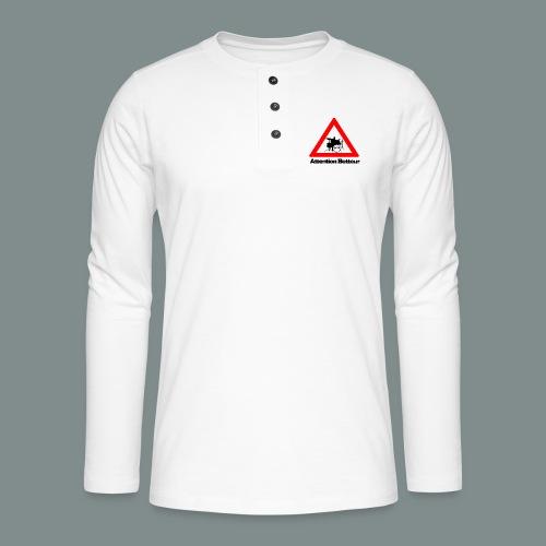 Attention batteur - cadeau batterie humour - T-shirt manches longues Henley