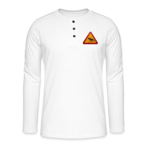 Warnschild Elch - Henley Langarmshirt