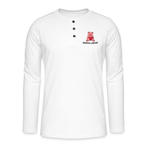 Grappige Rompertjes: Gratis liefde - Henley shirt met lange mouwen