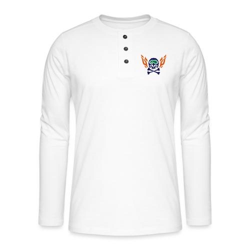 Totenkopf mit Skihelm, Skibrille und Flammen - Henley Langarmshirt