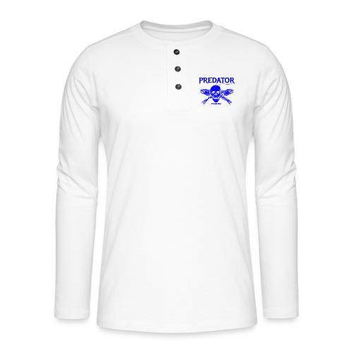 Predator fishing blue - Henley Langarmshirt
