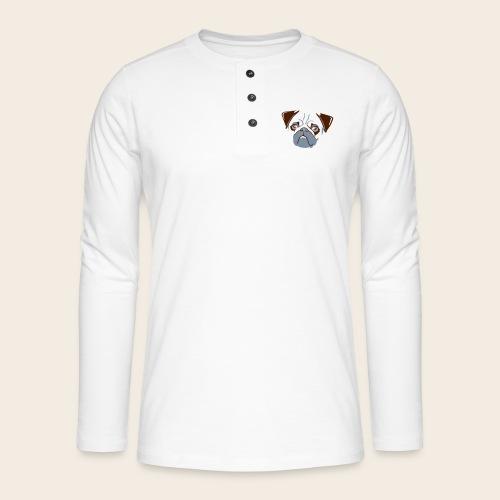 otiz mops kopf 2farbig - Henley Langarmshirt