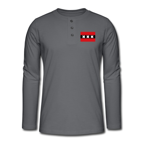 750px Flag of Amsterdam svg - Maglia a manica lunga Henley