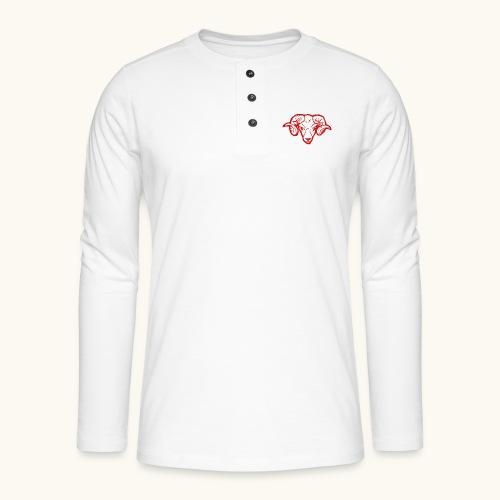 Roter Widderkopf Rammbock Geschenkidee Teufel - T-shirt manches longues Henley
