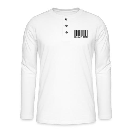 born in 1967 50th birthday 50. Geburtstag barcode - Henley long-sleeved shirt