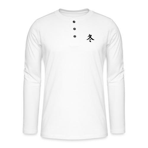 Winter (fuyu) Kalligrafie Japans Karakter (kanji) - Henley shirt met lange mouwen