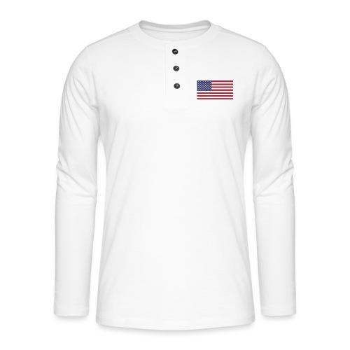 USA flagg - Henley langermet T-skjorte