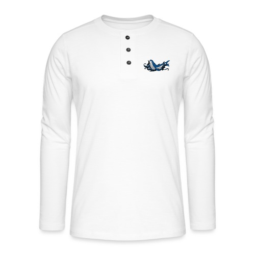Doodle ink Whale - Maglia a manica lunga Henley