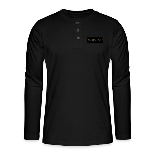 orange writing on black - Henley long-sleeved shirt