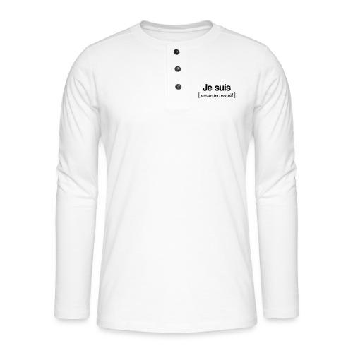 Je suis (sort skrift) - Henley T-shirt med lange ærmer