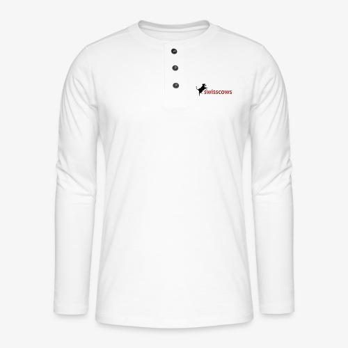 Schwarz-Rot Hoodie - Henley Langarmshirt