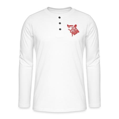 KLU logo red - Henley pitkähihainen paita