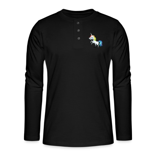 Regenbogen-Einhorn - Henley Langarmshirt
