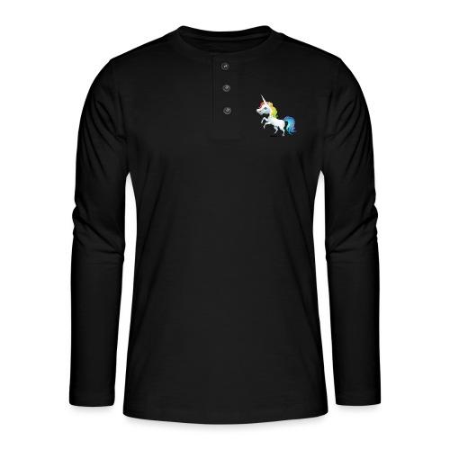 Tęczowy jednorożec - Koszulka henley z długim rękawem