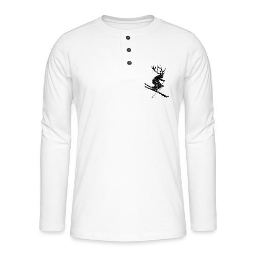 Skihirsch (Vintage/Schwarz) Apres-Ski Skifahrer - Henley Langarmshirt