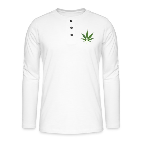 2000px-Cannabis_leaf_2 - Henley T-shirt med lange ærmer