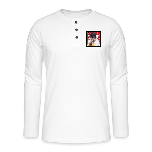 'Clever Monkey 2' by BlackenedMoonArts, w. logo - Henley T-shirt med lange ærmer