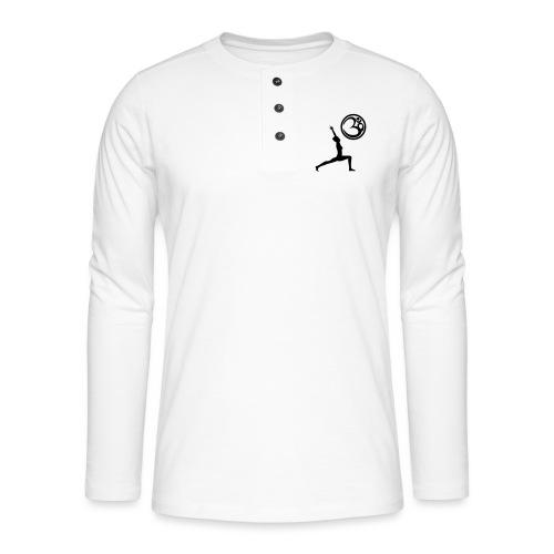 Der Held Yoga Asana Warrior mit OM Symbol Cool - Henley Langarmshirt