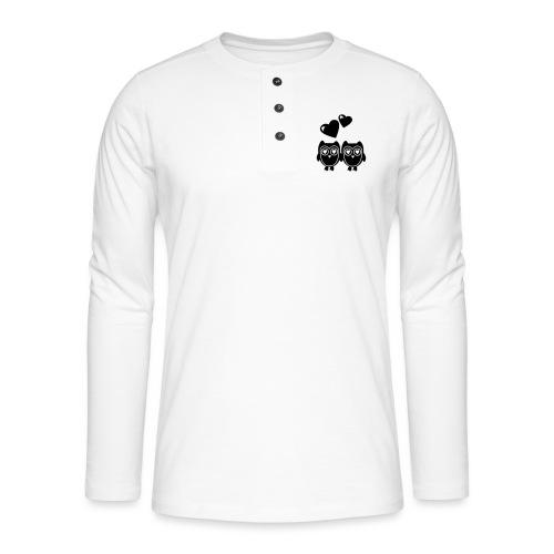 verliebte Eulen - Henley Langarmshirt