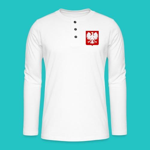 Koszulka z godłem Polski - Koszulka henley z długim rękawem