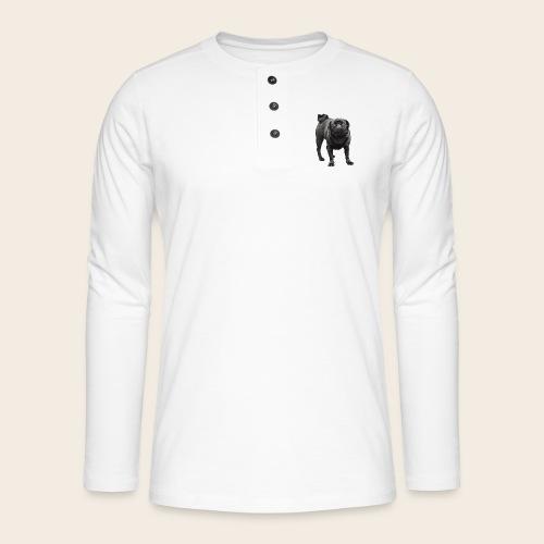 schwarzer Mops - Henley Langarmshirt