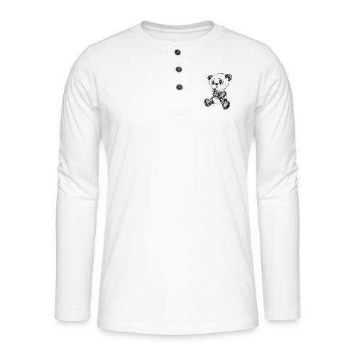 Panda Karhu musta scribblesirii - Henley pitkähihainen paita